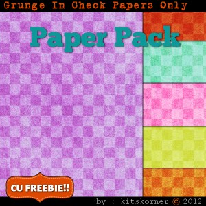 Grunge In Check Digital Scrapbook Paper Pack CU Freebie