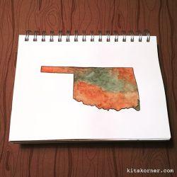 Watercolor Oklahoma State Silhouette…