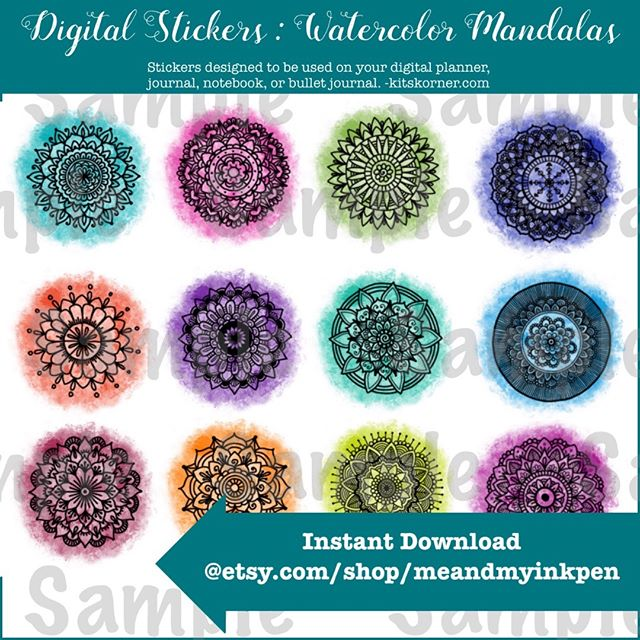 New on Etsy : Digital Watercolor Mandala Stickers