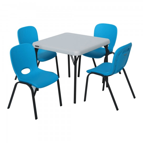 lifetime chairs and tables stackable folding children s table combo blue chair almond 80499