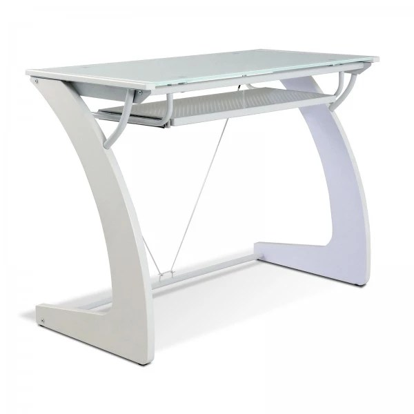 Jesper Office Computer Desk with Pure White Glass Top