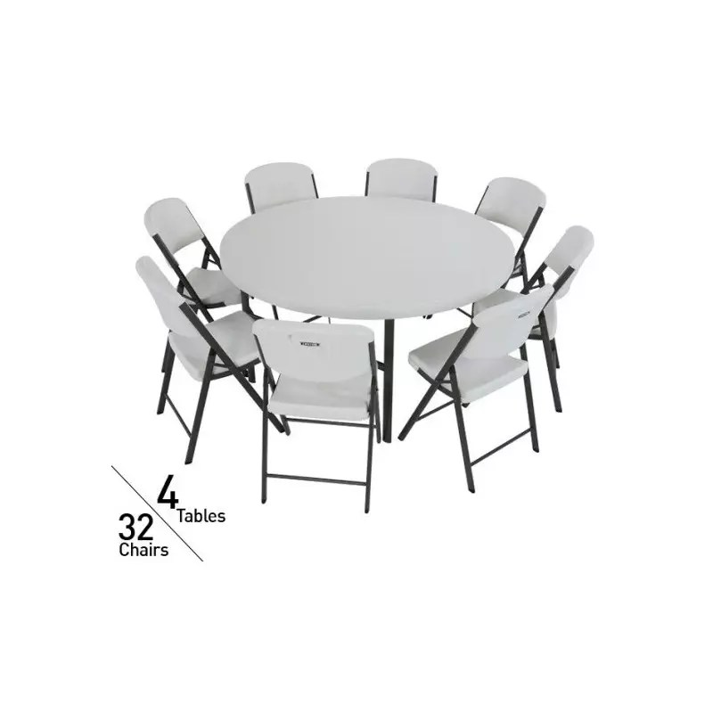 folding chair lifetime a chairde 4 round tables & 32 chairs set - white commercial grade (80458)