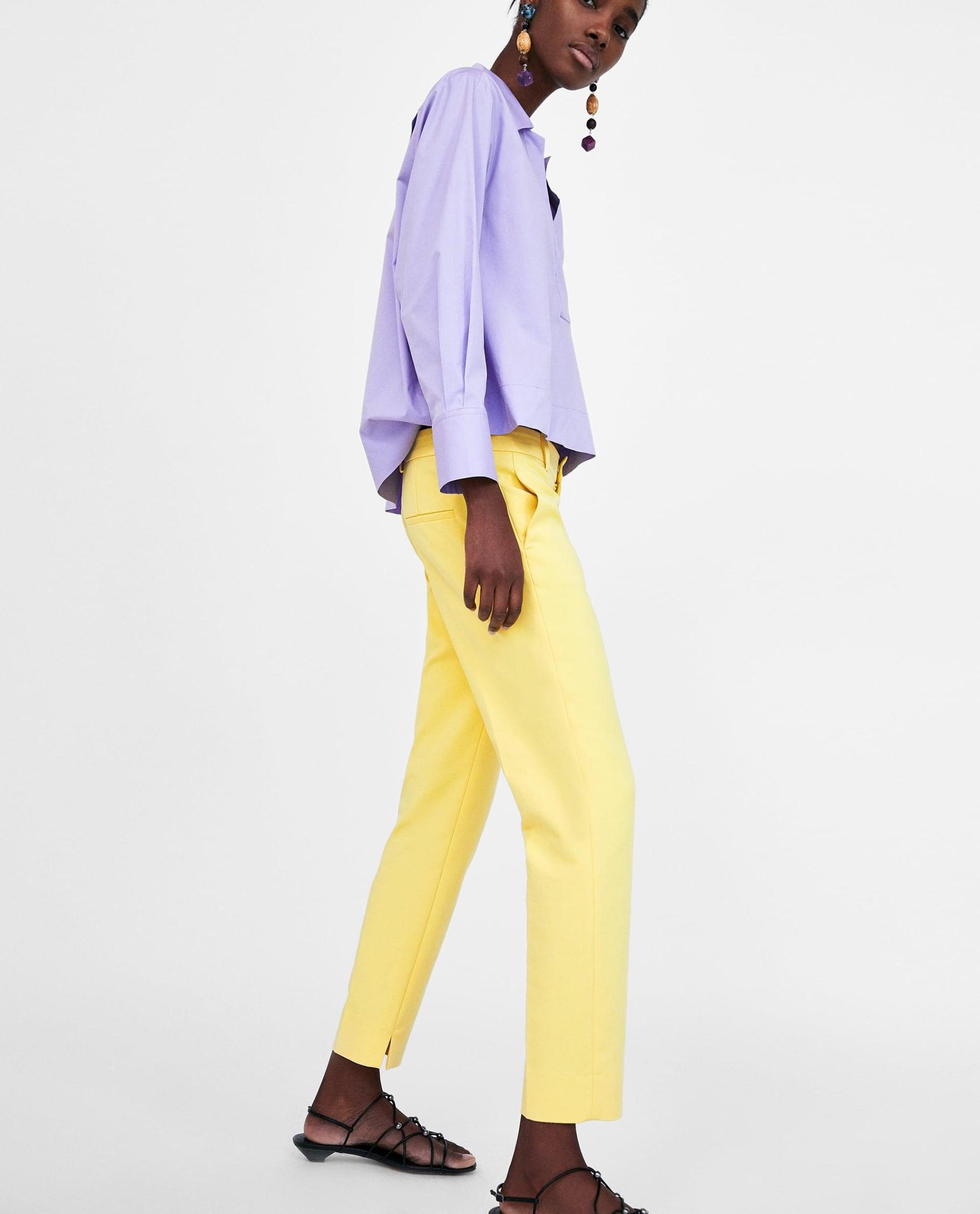 How to Wear Pastels 2019 Updated |Lemon Yellow Trousers and Lilac Shirt |www.kittyandb.com #Lilac #Pastel #Chic #Lemon #Yellow #colourInspiration #NetBag #OutfitInspiration #ColourPairing