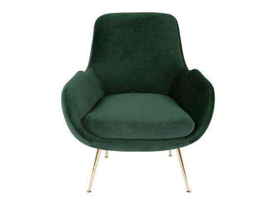 Green and gold armchair - home accessories inspiration| Today we're talking inspiration for adding green to your living room. Green is a really versatile colour to decorate your home with. But, which colours and tones work well? What kind of accessories work with green? This post gives you ideas for pulling together an elegant green colour palette and pieces for your home. Read more: kittyandb.com #greenlivingroom #greenaccessories #greencolorpalette #interiordecoratinginspiration #greenaesthetic #greenarmchair #greenandgold