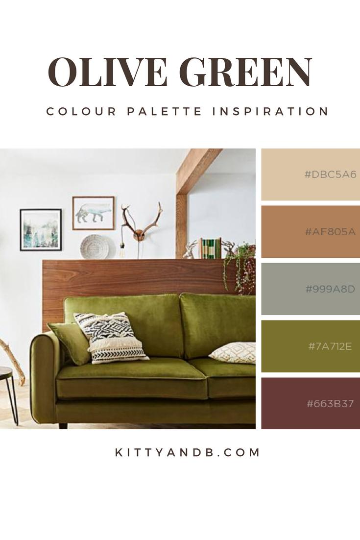 Olive Green and Brown Living Room Colour Palette Inspiration| Today we're talking inspiration for a green living room. Green is a really versatile colour to decorate your home with. But, which colours and tones work well? What kind of accessories work with green? This post gives you ideas for pulling together an elegant green colour palette and pieces for your home. Read more: kittyandb.com #colourpalette #olivegreen #greenlivingroom #greencolorpalette #greenaesthetic