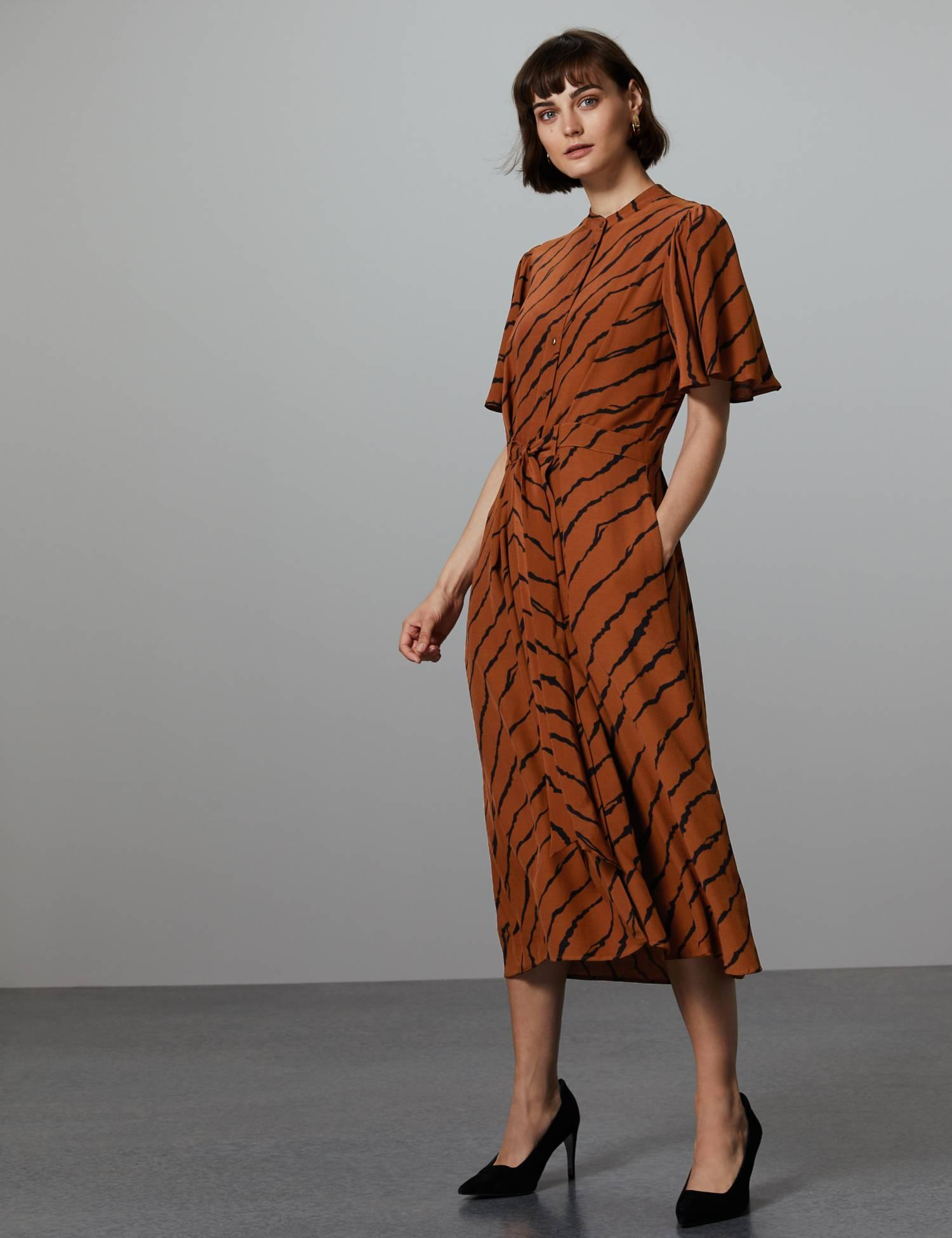 Brown animal print shirt dress - with pockets| Brown outfit inspiration |www.kittyandb.com #shirtdress #chicstyle #dress #dressinspiration