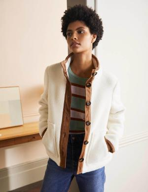 Brown and White Sherpa Jacket