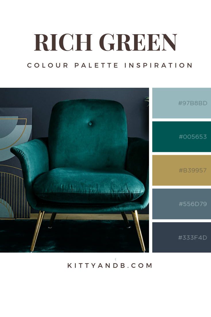 Rich green, navy and gold colour palette| Today we're talking inspiration for adding green to your living room. Green is a really versatile colour to decorate your home with. But, which colours and tones work well? What kind of accessories work with green? This post gives you ideas for pulling together an elegant green colour palette and pieces for your home. Read more: kittyandb.com #greenlivingroom #interiordecoratinginspiration #colorpalette #colourpalette #greenaesthetic