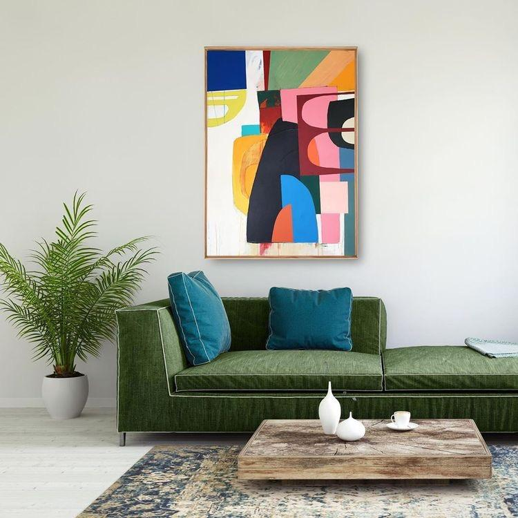 Green Sofa with Colourful Abstract Art Painting above.
