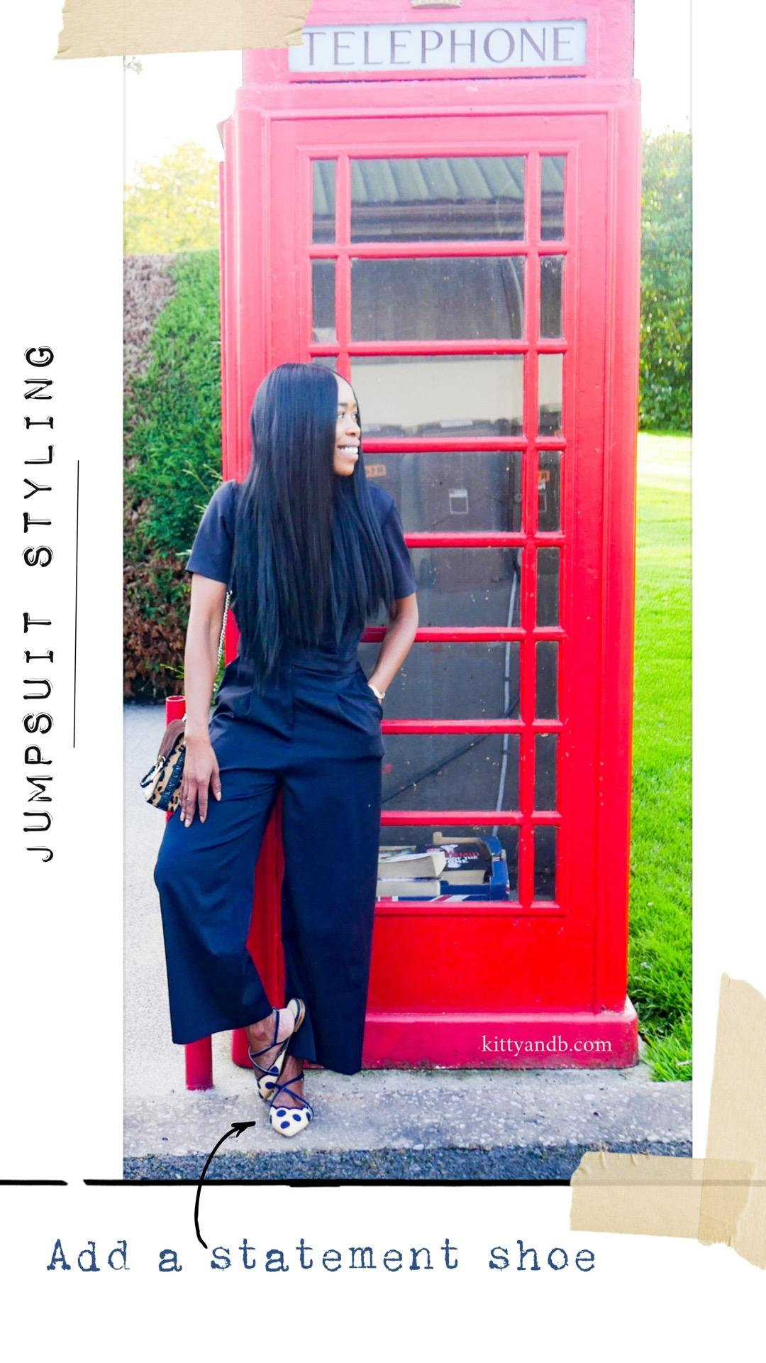 Here's my round up of shoes to wear with a jumpsuit, with my most worn jumpsuit friendly shoe styles. You know I love a jumpsuit and my navy wide leg jumpsuit is my most worn over the last couple of years, so I think it's a great way to show you the shoes in action! kittyandb.com| #howtowear #jumpsuitstyle #statementflats #outfitideas #raffia