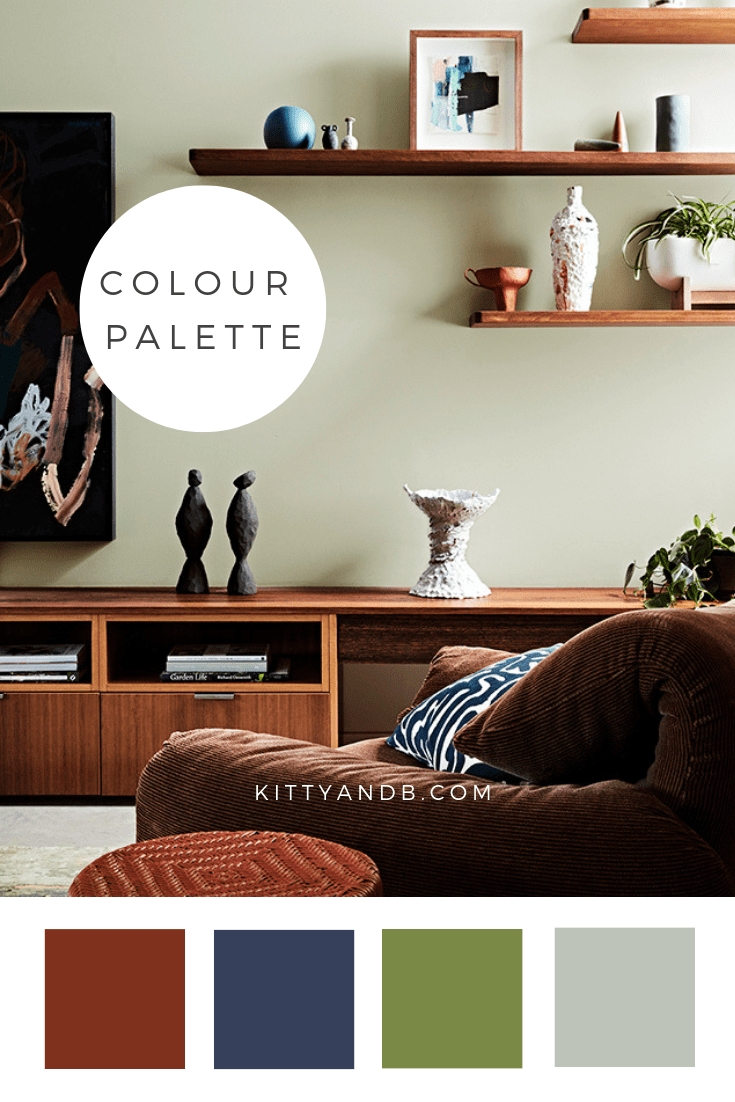 Green and Brown Wood Living Room Colour Palette Inspiration| Today we're talking inspiration for a green living room. Green is a really versatile colour to decorate your home with. But, which colours and tones work well? What kind of accessories work with green? This post gives you ideas for pulling together an elegant green colour palette and pieces for your home. Read more: kittyandb.com #greenlivingroom #greencolorpalette #interiordecoratinginspiration #greenaesthetic #wood