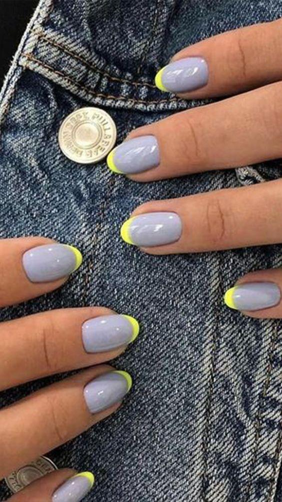 Neon French Manicure Tips | We love a classic French manicure, it's elegant and timeless. But, we also love classic with a twist. Here are all the alternative French manicure styles you need | www.kittyandb.com #FrenchManicure #Nails #NailArt #French #Tip #Fluro #Neon
