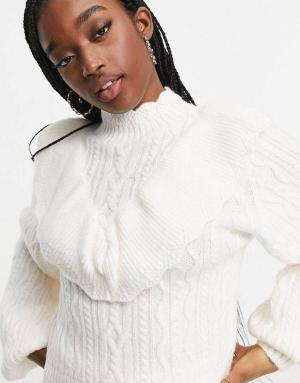 White Frill Cable Knit Jumper