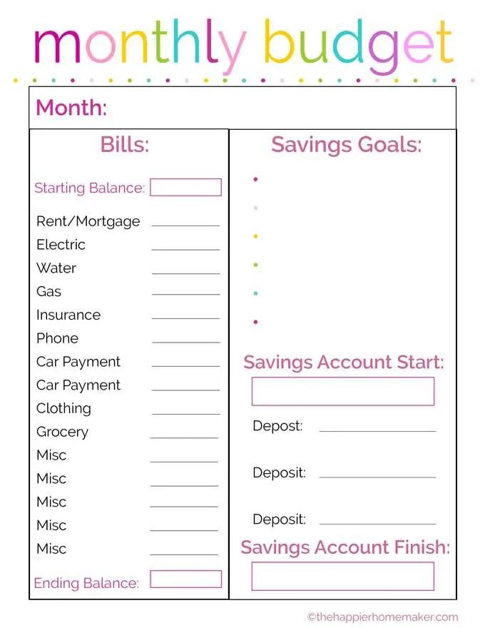 Printable Pinterest Budget