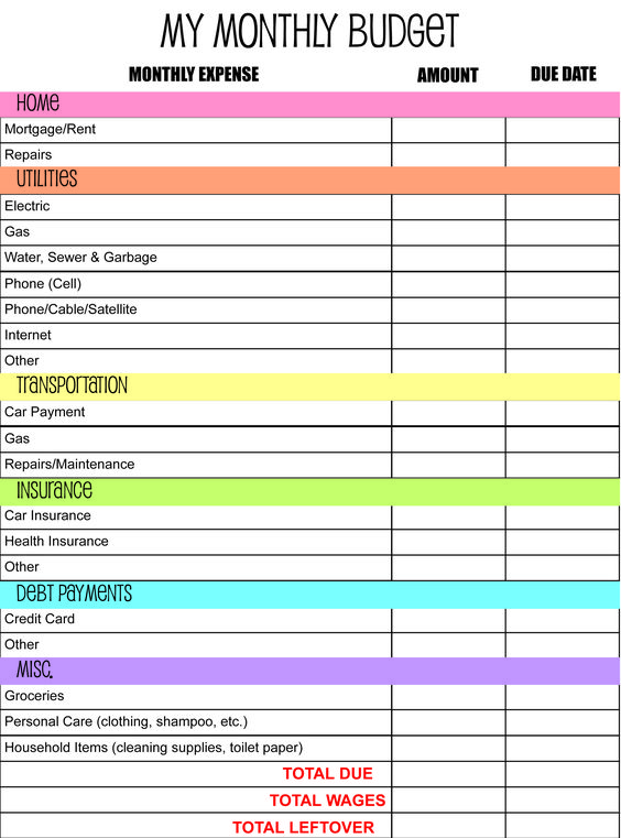 family budget planner free