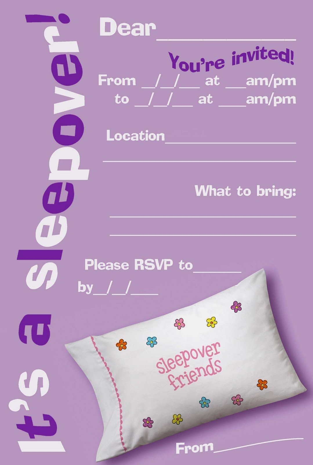 50 Beautiful Slumber Party Invitations