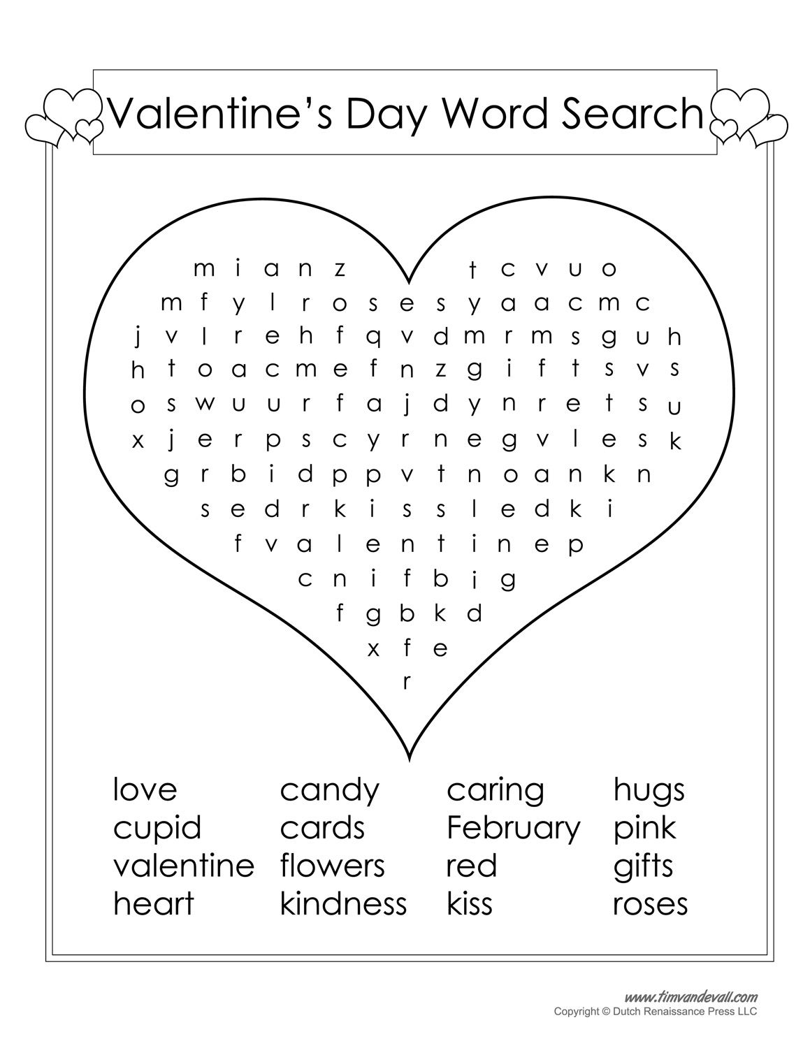 12 Valentine S Day Word Search