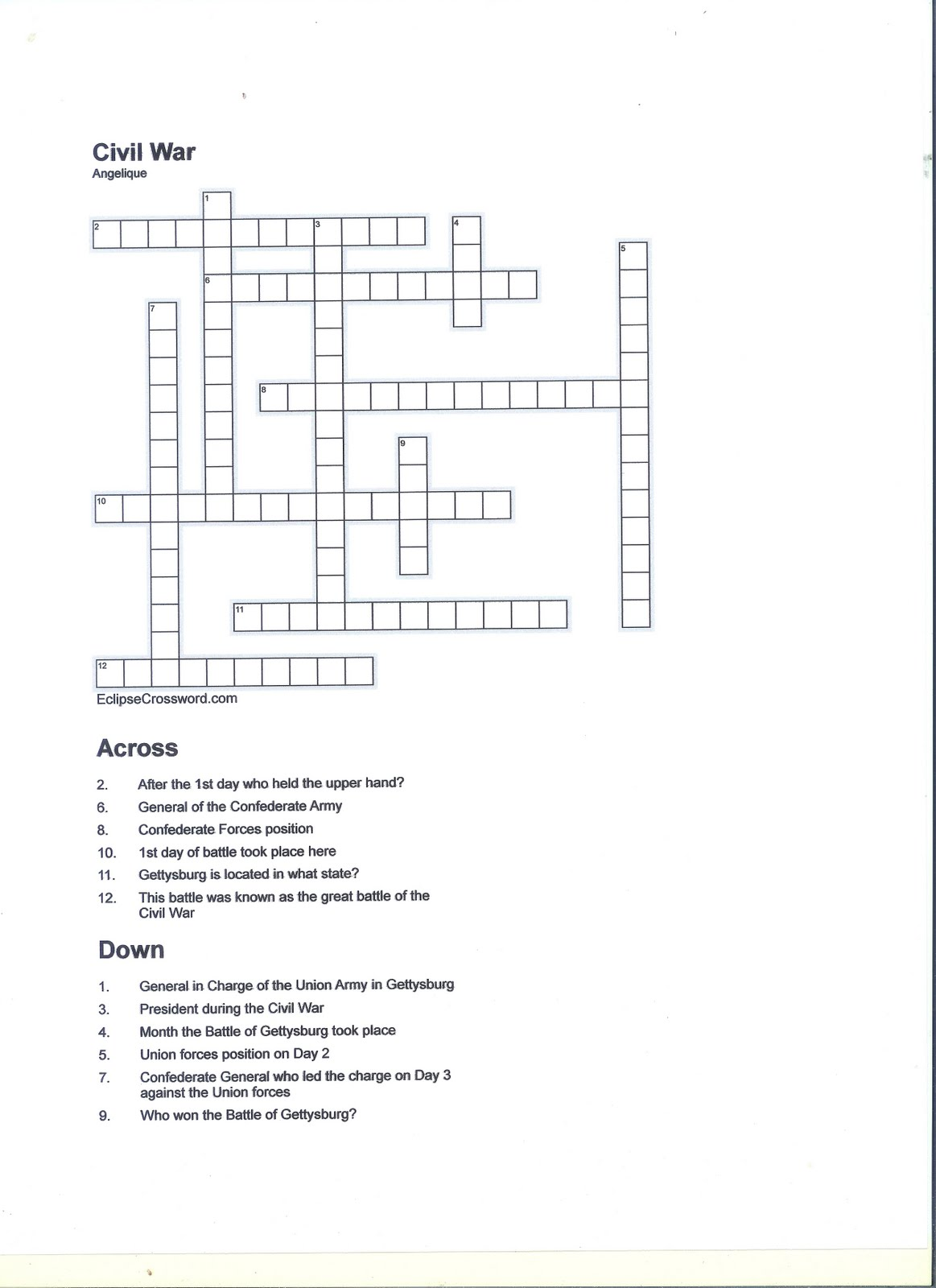 6 Historical Civil War Crossword Puzzles