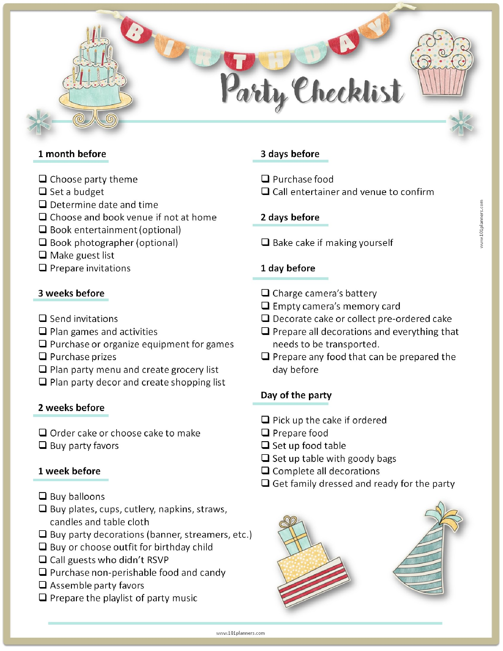 26 Life Easing Birthday Party Checklists
