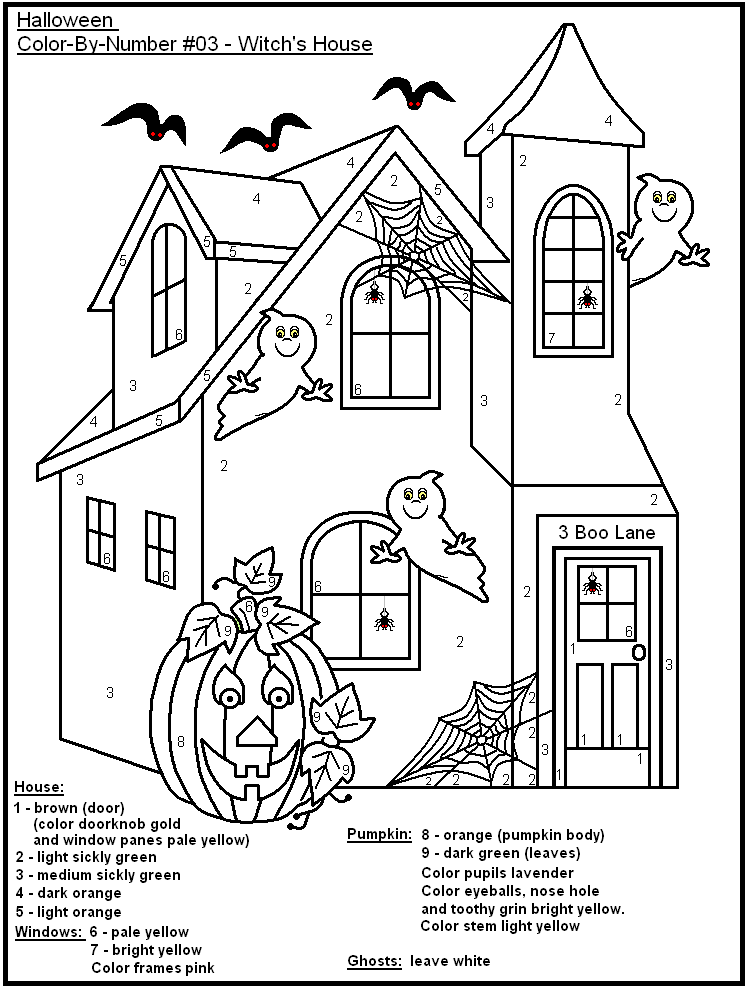 19 Eerie Halloween Color by Number Printable Pages for