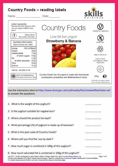 18 Informative Food Label Worksheets