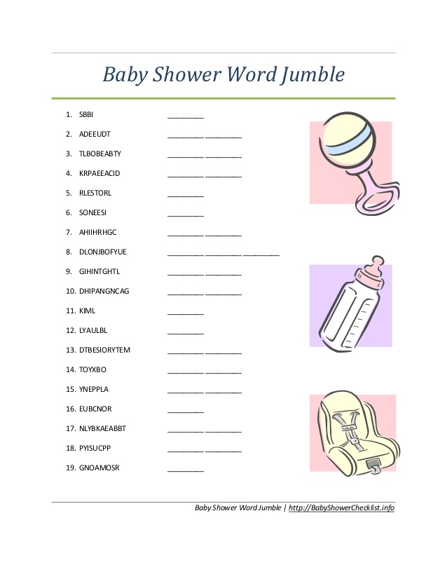 36 Adorable Baby Shower Word Scrambles  KittyBabyLovecom