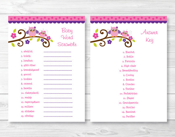 36 Adorable Baby Shower Word Scrambles KittyBabyLove Com