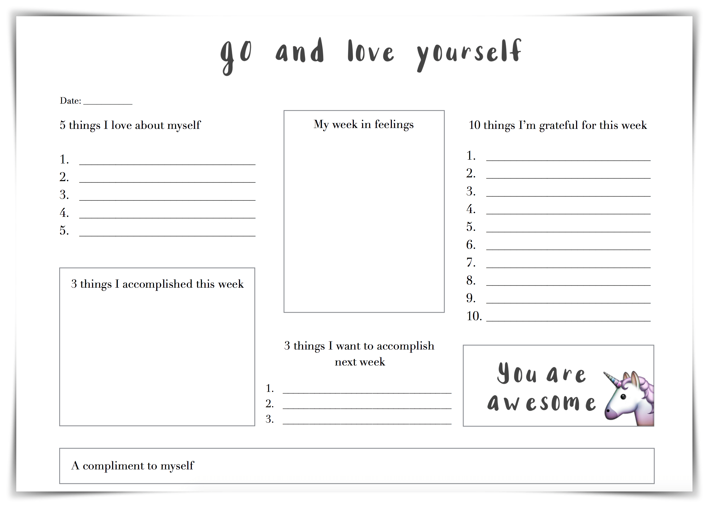 Print Self Esteem Worksheet