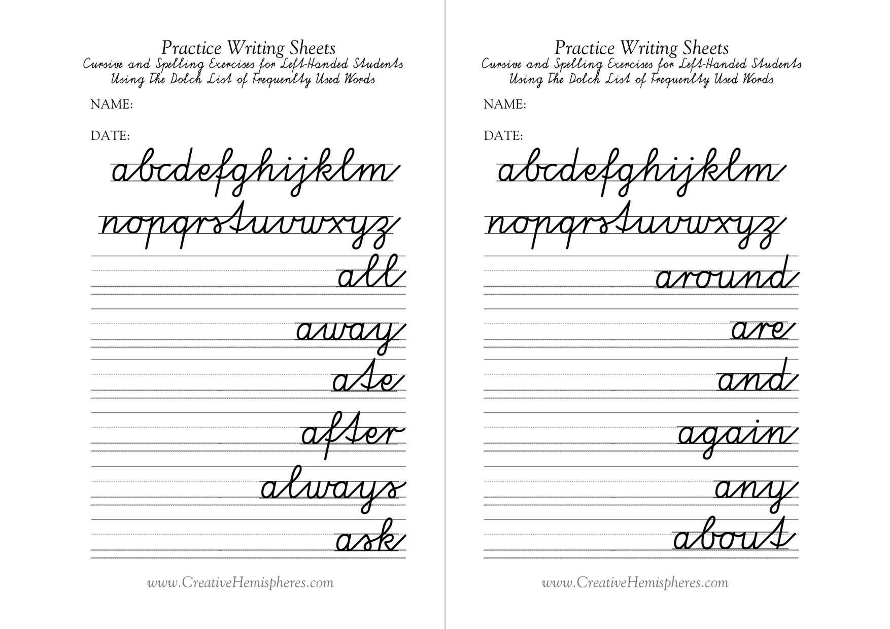 Cursive Writing Worksheet Grade 5