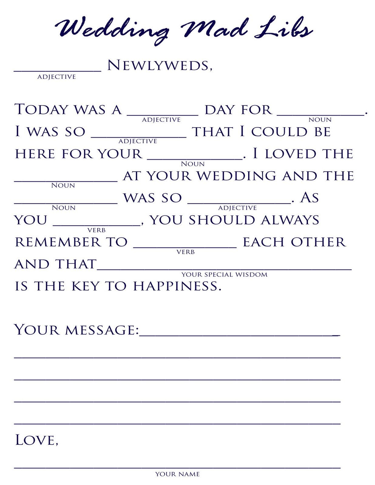 18 Fun Wedding Mad Libs