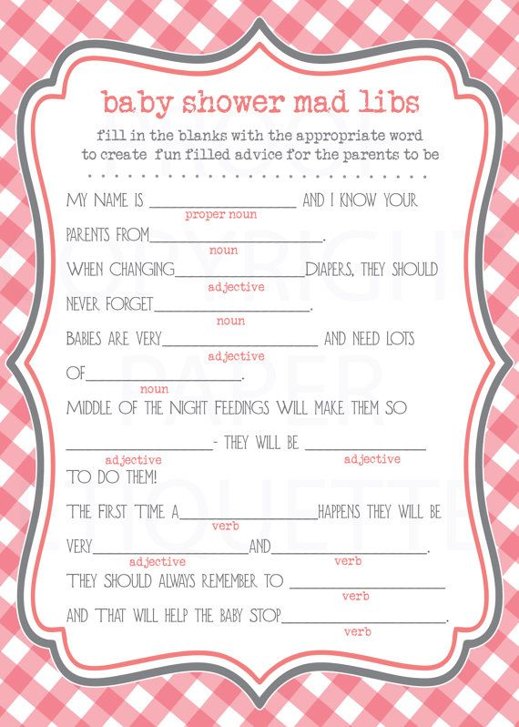 photograph relating to Baby Shower Mad Libs Printable Free called Insane Libs For Kid Shower No cost Printable