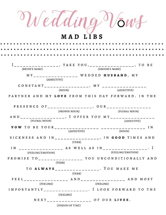 7 Bridal Shower Mad Libs for the Ultimate Pre-wedding Fun