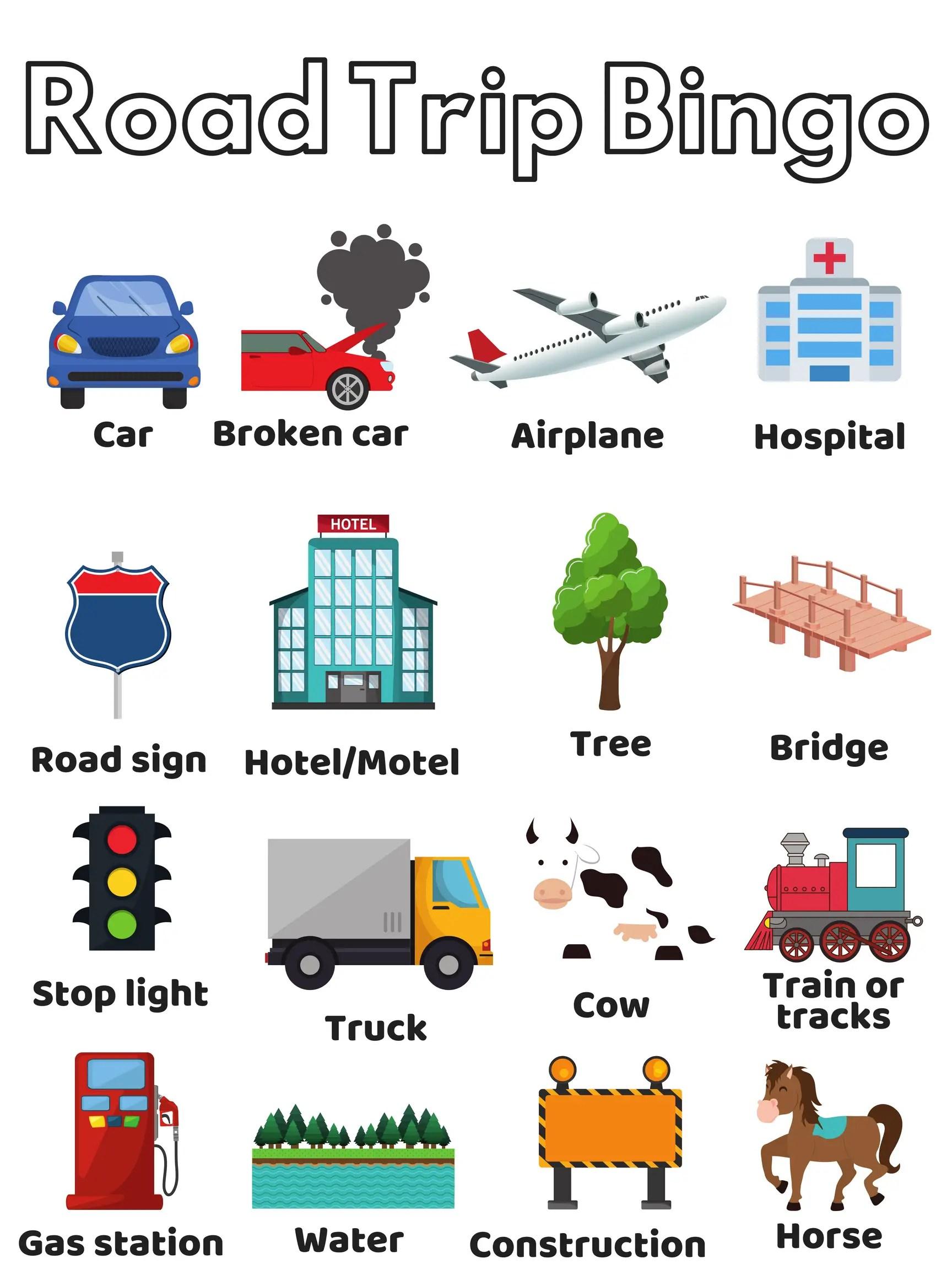 28 Amusing Road Trip Bingo Templates
