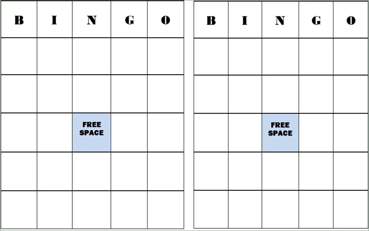 25 Amusing Blank Bingo Cards For All