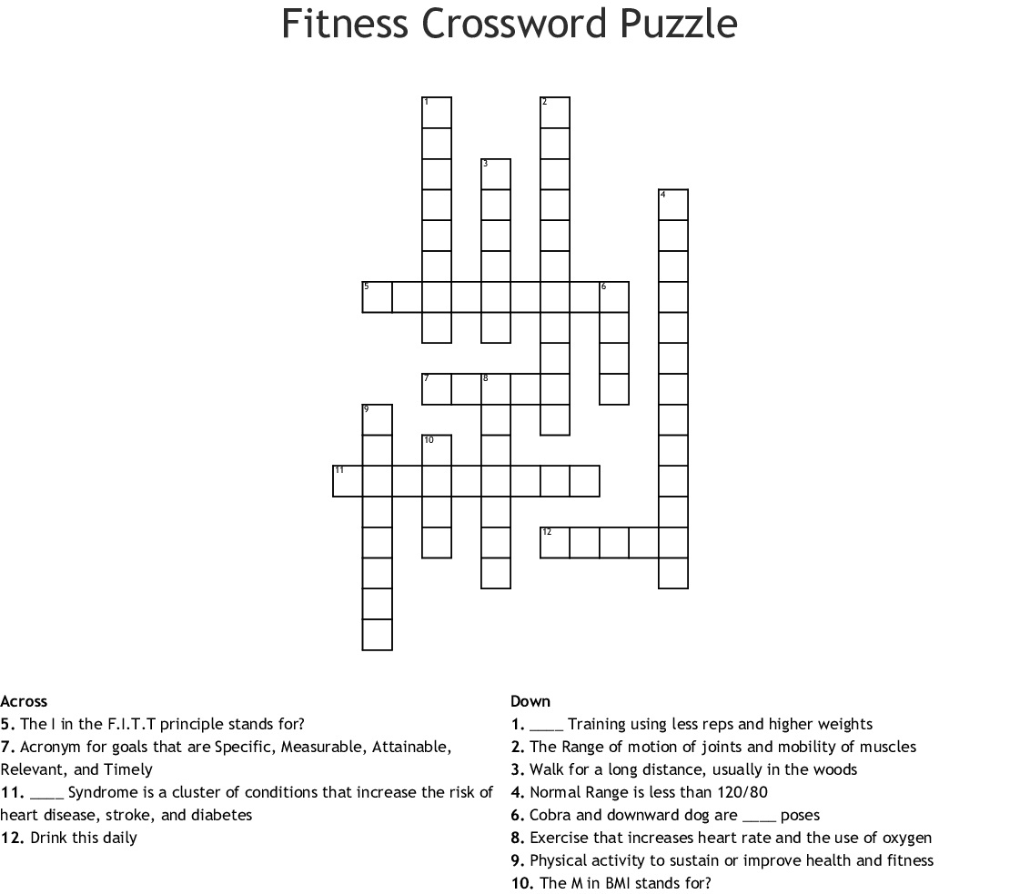 10 Interesting Nutrition Crossword Puzzles