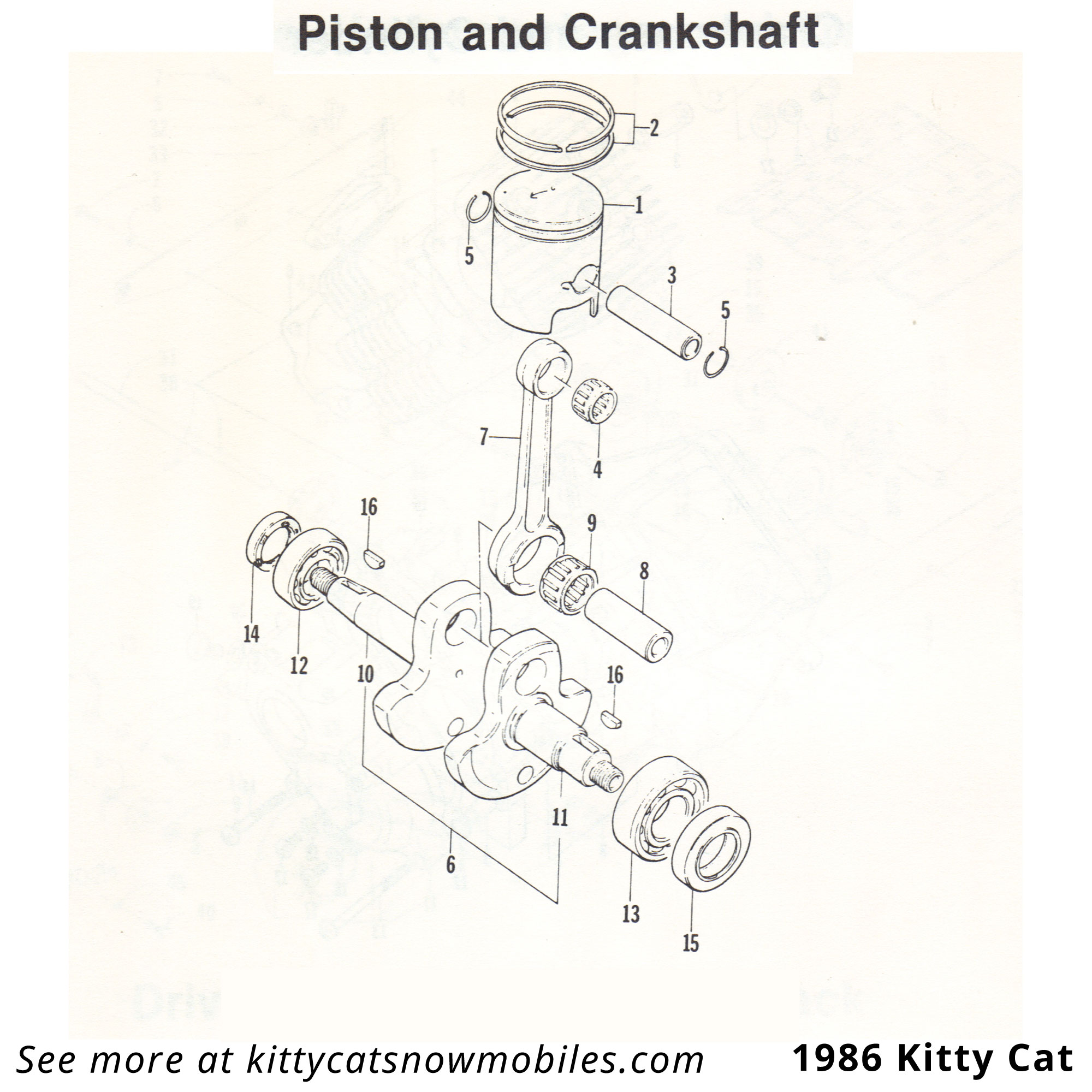 86 Kitty Cat Piston and Crankshaft Parts