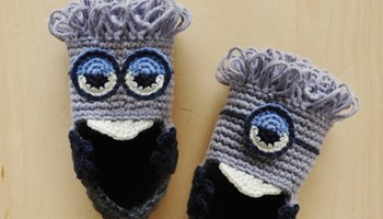 Crochet pattern puppy baby booties kittying crochet pattern evil minion inspired baby booties pattern ccuart Choice Image
