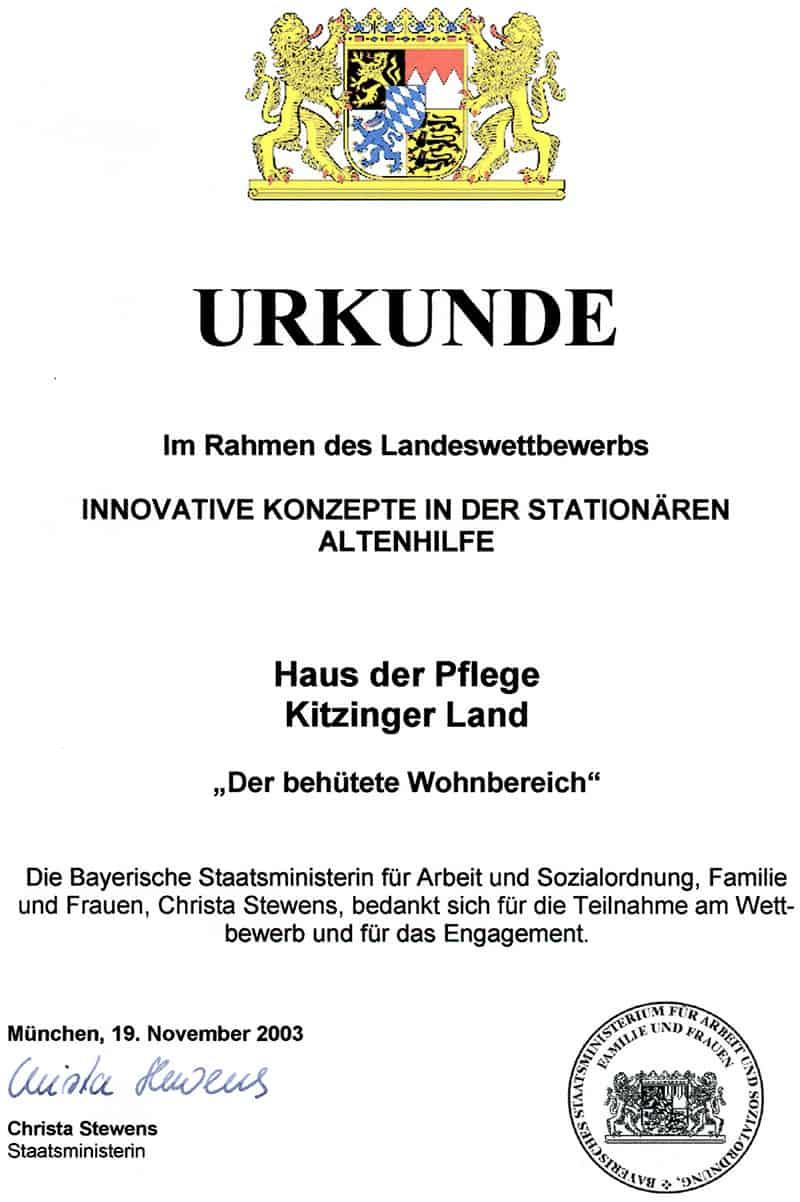 Haus der Pflege –Kitzingerland, Innovative Konzepte in der stationären Altenhilfe