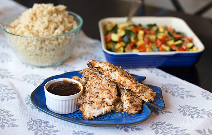 Coconut crusted chicken with guava-ginger chutney