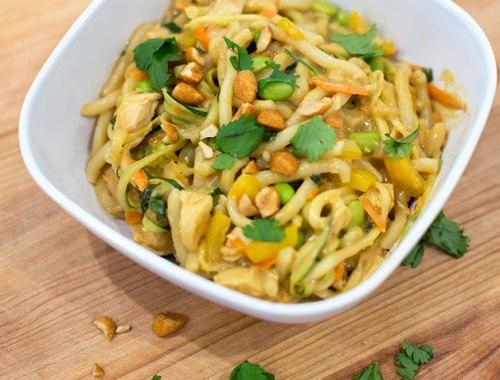 Udon noodles with peanut sauce