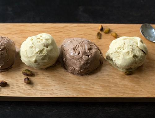Chocolate-Hazelnut and Pistachio Gelato