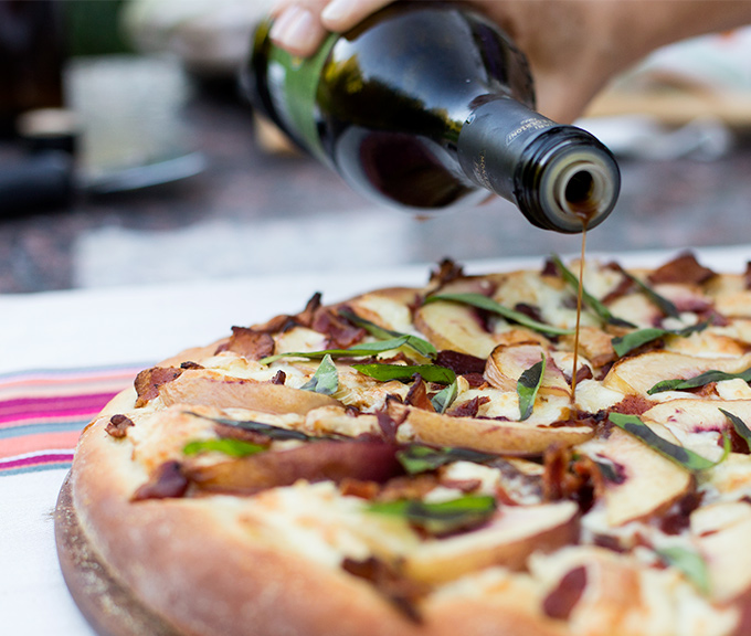 Nectarine Brie and Bacon Pizza