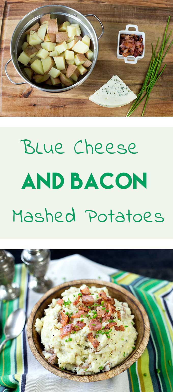 Blue Cheese and Bacon Mashed Potatoes-irresistably creamy potatoes with swirls of melted blue cheese and chunks of savory bacon.