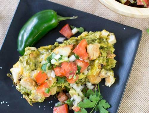 Chicken Enchiladas with Green Sauce - fresh spinach, cilantro and queso fresco replace canned soup, sour cream and mild Cheddar for a fun fave redo!
