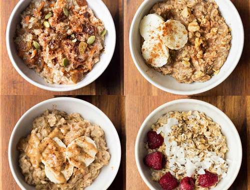 "4 ""Mix Up Your Morning"" Oatmeal Recipes-don't get stuck in your oatmeal rut! Mix it up with peanut butter, coconut-raspberry, banana bread and carrot cake!"