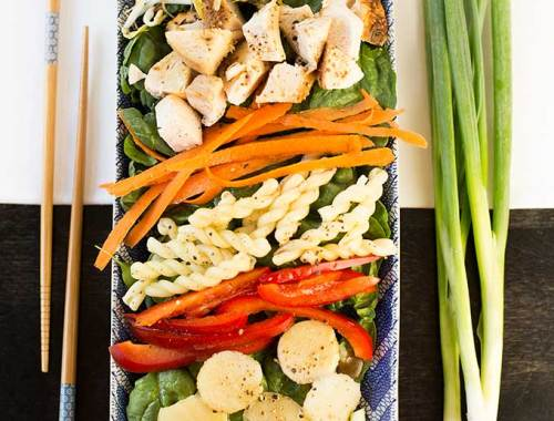 Need a super-easy salad for a party? Try this Asian Spinach-Chicken Salad, packed with veggies and chicken, and tossed with a ginger-soy dressing!