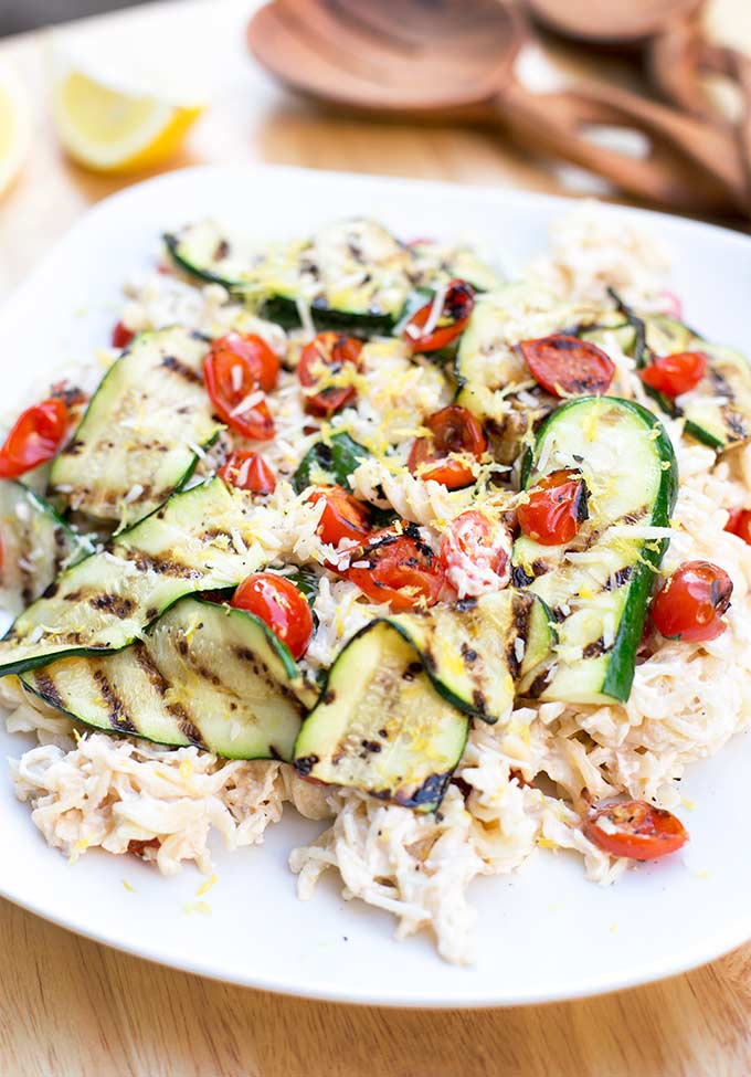 """Veggie-Packed Creamy Lemon Pasta is a healthier way to enjoy a """"rich and creamy"""" pasta dish. Made with Greek yogurt, roasted zucchini and lemon zest."""