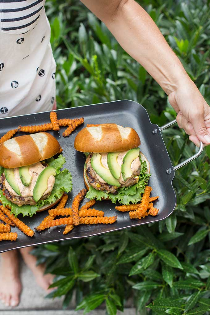 Southwest Turkey Burgers with Chipotle-Lime Aioli - complete with spices, corn, beans and a spoonful of chipotle-lime aioli for the perfect topper!