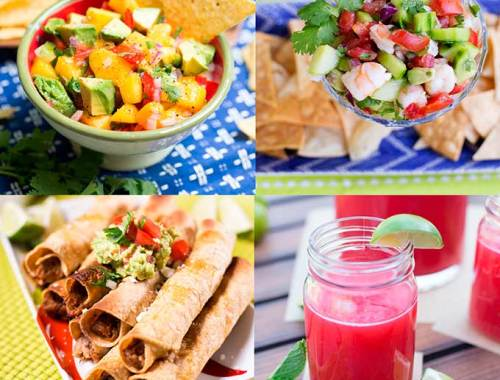 Here's a fun summertime Mexican menu that uses fresh garden ingredients...Homemade taquitos, ceviche and chips and salsa, complete with raspberry limeade!