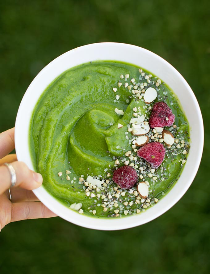 Celebrating Summer Green Smoothie Bowl - fresh pear and mango mixed with greens, almond milk and a splash of lime for a refreshing summer treat.